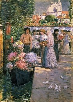 The Flower Market ~ Frederick Childe Hassam, 1875
