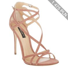 Dolce & Gabbana light pink suede Keira sandals styled at vamp and ankle with cutout crisscross straps. Fancy Shoes, Pretty Shoes, Crazy Shoes, Beautiful Shoes, Cute Shoes, Ankle Strap Shoes, Shoes Heels, Heeled Sandals, Strap Sandals
