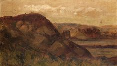Edward Mitchell Bannister -  Untitled (landscape with rocks) (1898)