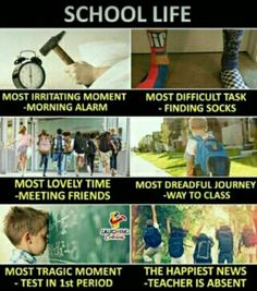 Hahahahaha true if it school life was or is much more related to dis or is exactly like dis.I am in school and its true that nothing is like school life Funny School Jokes, Some Funny Jokes, Crazy Funny Memes, Really Funny Memes, Funny Relatable Memes, Funny Facts, Hilarious, School Life Quotes, Crazy Girl Quotes