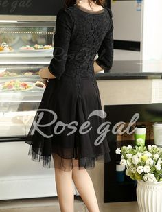 Voile Splicing Sweet Scoop Neck Stereo Floral 1/2 Sleeve Women's Lace Dress