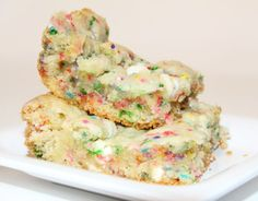 Cake batter brownies... Can't wait to try them. All the pinners said they're to die for!.