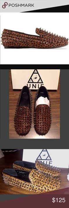 Unif hellraiser spiked leopard loafer UNI HELLRAISER UNISEX leopard silver loafers  Although this is listed under women's size 10, it is a very unisex shoe.  According to size charts it would be a men's size 8.  GENTLY WORN. SOLD OUT EVERYWHERE!  Such a fantastic shoe, I hope someone can get use out of them!  Stunning statement shoe.   ALL OFFERS CONSIDERED! :) UNIF Shoes Flats & Loafers