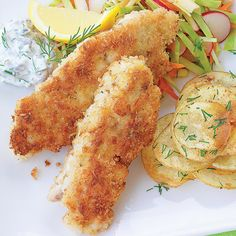 Clean Eating Sauteed Fish Sticks with Chips and Slaw