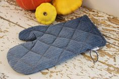 Recycled denim oven mitt , Kitchen oven glove , Denim pot holder , food oven mitt , denim recycled pot holder , cookware hot pad , kitchen by SecondBirthday on Etsy