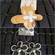 2 Pack Set of Fashion Gold Butterfly and Flower Dangle Large Earrings For Women