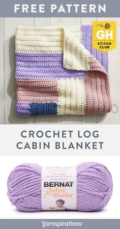 The Stitch Club Crochet Log Cabin Blanket makes a great beginner friendly blanket. Join the Good Housekeeping Stitch Club by shopping this kit — you'll get all the materials you need, plus tailored step-by-step instructions and videos for this project delivered straight to your inbox! #Yarnspirations #GoodHouseKeeping #GoodHousekeepingStitchClub #YarnKit #EasyCrochet #LearnToCrochet #CrochetBlanket #CrochetAfghan #CrochetThrow #BernatYarn #BernatSofteeChunky Knit Or Crochet, Learn To Crochet, Easy Crochet, Bernat Softee Chunky Yarn, Bernat Yarn, Crochet Blanket Patterns, Baby Blanket Crochet, Crochet Baby, Yarn Colors