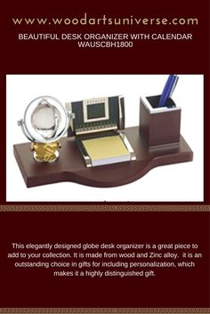 Elegantly finished #Globe desk organizer features Globe, Calendar, memo holder and a pen holder.  #freeshipping #sale http://woodartsuniverse.com/catalog/product_info.php?cPath=28&products_id=611
