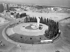Plaza de Castilla, Madrid, 1960. Foto tomada desde la parte superior del depósito de agua del Canal de isabel II