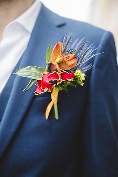 Boutonnière tropicale #marié