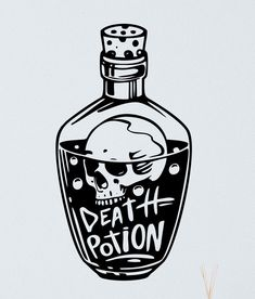 Death Potion Wall Decal Wall Vinyl Decal Skull Death Sneak Scary Guaranteed Quality Skull Wall Sticker Vinyl Decal Skull Dark Art Drawings, Tattoo Drawings, Skull Drawings, Halloween Drawings, Halloween Art, Tatto Old, Bottle Drawing, Bottle Tattoo, Graffiti Drawing