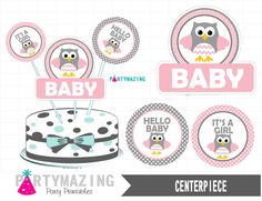 New from Partymazing on Etsy: Owl Printable Centerpiece Pink Baby Shower  It's a Girl Owl Printable Centerpiece Instant download Pink Owl Baby Shower Collection D281 (5.00 USD) For more @partymazing