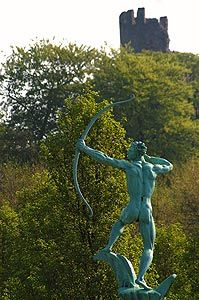 This is an iconic statue in dudley it is the figure of Apollo in Coronation Gardens. Which is work of sculptor William Bloye who is a prominent Midlands artist who has several works in the town.