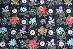 Vintage Barkcloth Fabric - Multicolored Flowers on Black - By the Yard