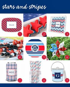 Live Your Style by Boatman Geller: Stars and Stripes! #Monograms #Party #Gifts http://liveyourstylebybg.blogspot.com/
