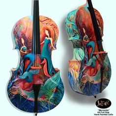 Hand Painted Cello by Juleez Mermaids