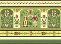 Rosemaling Designs Patterns | From our archives: 1950s Scandinavian folk art kitchen border ...