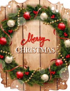 Christmas Wreath on Wood Background