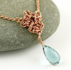 Solid copper chainmaille pendant with beautiful by Silverfalls