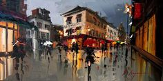 Palette Knife Cityscapes by Kal Gajourn Created entirely with a palette knife, thesefascinatingoil paintings give a nice contemporary twist on cityscape painting. The technique was introduced to Kal Gajourn by a family friend and he's not looked back since. His unique style gives the cities a wonderfulreflectiveand almost wet look, as if rain water recently flooded the streets. Artists: | Website | [via: Andons & MMM]