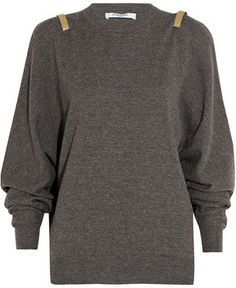 Givenchy Gray wool sweater with gold bars