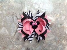 Minnie Mouse Boutique Style Hair Bow  Disney Hair Bow  by HipBowz, $8.45
