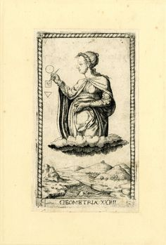 HL female figure, her head in profile to l; hovering in clouds above a landscape; drawing geometric figures; after the so-called Tarocchi Cards of Mantegna.  Engraving