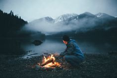 Blue Hour On Baker Lake - Campfire on Baker Lake in the North Cascades of Washington State