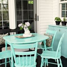 Porches- front porch idea love the bright blue color painted furniture
