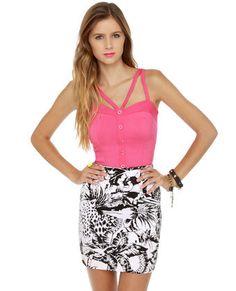 Motel Becka Black and White Tropical Print Skirt