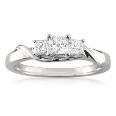14k White Gold Three-Stone Princess-cut Diamond Engagement Ring (1/2 cttw, H-I, I1-I2)