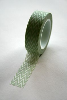 Washi Tape  15mm  Light Green and White Chevron by InTheClear, $3.95