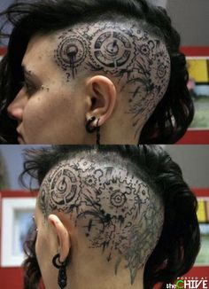 Look at this badass steampunk hair! Such a complex look with the color, cut, tattoo, and piercings all matching perfectly to complete it. It's definitely a stop-and-stare look. Sick Tattoo, Tattoo On, Tattoo Life, Brain Tattoo, Tattoo Girls, Girl Tattoos, Tatoos, Crazy Tattoos, Trendy Tattoos