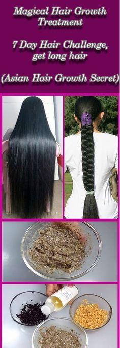 Magical Hair Growth Treatment   7 Days Hair Challenge, get long hair (Asian Hair Growth Secret)