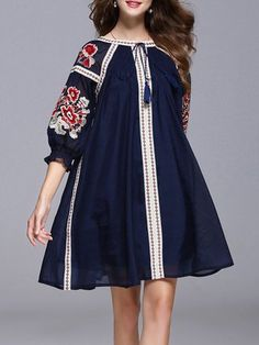 Balloon Sleeve Vintage Embroidered A-line Midi Dress