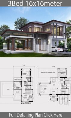 haus design Home design plan with 3 bedrooms. A two-storey house in a modern, tropical style Modern shape Latent with details of tropical architecture 2 Storey House Design, Duplex House Plans, Bungalow House Design, Bedroom House Plans, Dream House Plans, Modern House Design, House Floor Plans, House Layout Plans, House Layouts
