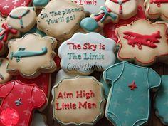 Vintage Airplane Baby Shower Cookies by CaseBakes www. Baby Cookies, Baby Shower Cookies, Cookies Et Biscuits, Baby Shower Parties, Baby Shower Themes, Baby Boy Shower, Shower Ideas, Airplane Baby Shower Cake, Vintage Airplane Party