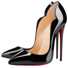 Christian Louboutin Black Patent Leather Pump (£1,175) ❤ liked on Polyvore featuring shoes, pumps, heels, sapatos, zapatos, black, kohl womens shoes, black patent pumps, black court shoes and court shoes