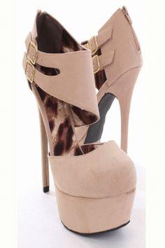 Beige Smooth Velvet Double Ankle Strap Platform Heels