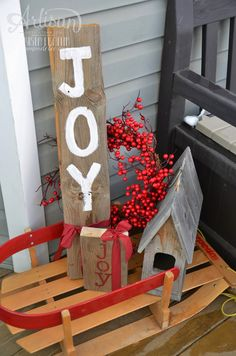 simple holiday wood signs with Stampin' Up! stencils & ribbon! - krista frattin