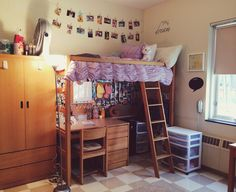 My purple dorm room at quinnipiac! Lofted bed. Twine pictures. Love!!