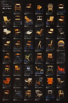 Just a few of Hans Wenger's chair designs... Prolific! An excellent exhibition I went to in Copenhagen!