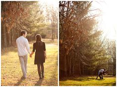 Outdoor winter engagement session shot in the woods of the bride's dad's backyard. Warm December light and sweet natural posing for a shy couple. Photos by Lauren D. Rogers Photography | www.laurendrogers.com