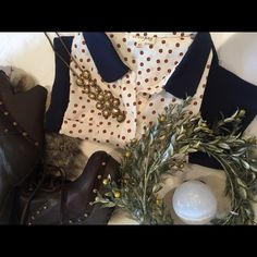 Maison Jules dress Button-up top w/ gold-tone polka-dot print . Blue skirt . Sleeveless . XL . Never worn . Maison Jules Dresses
