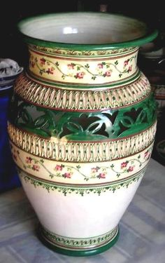 """Beautiful 22"""" hand-crated vase, direct from the artist in Vietri $300.00 Please allow 30 days for our artist to create your beautiful piece of art! See this and more at: www.romeocuomoceramics.com"""
