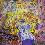 La calle ante la casa, fue hecha 1911 por Umberto Boccioni, óleo sobre lienzo, 100 x 106,5 cm, Hanóver, Sprengel Museum Hannover.