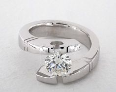Round, Modern Tension-Set Etched Lines Engagement Ring in White Gold by James Allen® Round Cut Engagement Rings, Engagement Ring Styles, Designer Engagement Rings, Round Diamond Ring, Marquise Diamond, Round Diamonds, White Gold Rings, White Gold Diamonds, Rose Gold