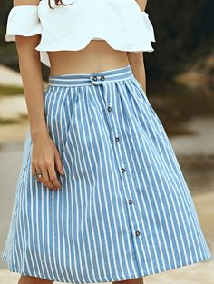 A-Line Striped Single-Breasted Skirt