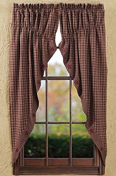 New Primitive Country BURGUND U0026 TAN CHECK STAR Prairie Curtain Window Swag  #Cambridge #Country