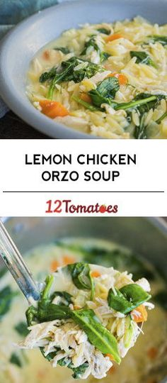Lemon Chicken Orzo Soup, can omit egg's. Add 1 tsp each, fresh thyme & ro… Lemon Chicken Orzo Soup, can omit egg's. Add 1 tsp each, fresh thyme & rosemary to sauted veggies or use tsp ground poultry seasoning. Greek Lemon Chicken Soup, Lemon Soup, Lemon Orzo, Soup Recipes, Chicken Recipes, Cooking Recipes, Healthy Recipes, Chicken Soups, Healthy Soup